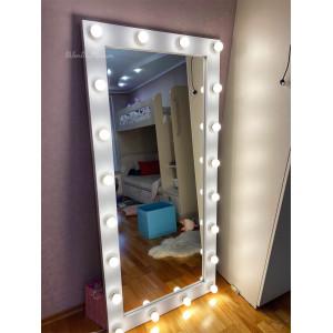 Гримерное зеркало с лампочками JenDi 170х80 Белое