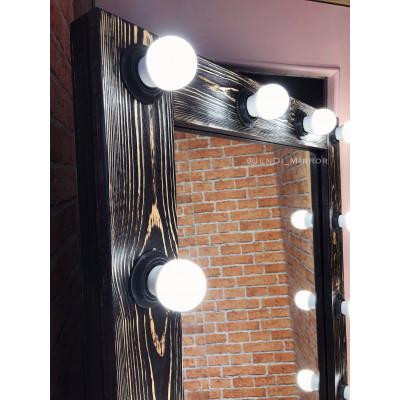 Гримерное зеркало с лампочками JenDi 175х70 Древесный уголь