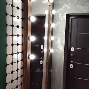 Гримерное зеркало с лампочками JenDi 180х90 Шоколад