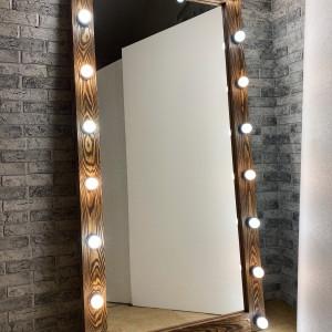 Гримерное зеркало с лампочками JenDi 180х90 Светлый шоколад фактурное