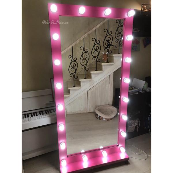Гримерное зеркало с лампочками на подставке с колесами JenDi 180х90 Маджента
