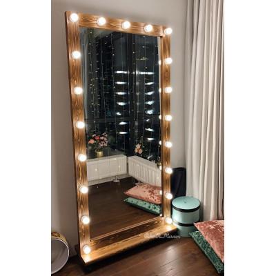 Гримерное зеркало с лампочками на подставке с колесами JenDi 200х100 Орех