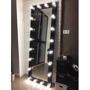 Гримерное зеркало с лампочками JenDi 200х70 черное