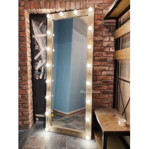 Гримерное зеркало с лампочками JenDi 200х80 Мореный дуб