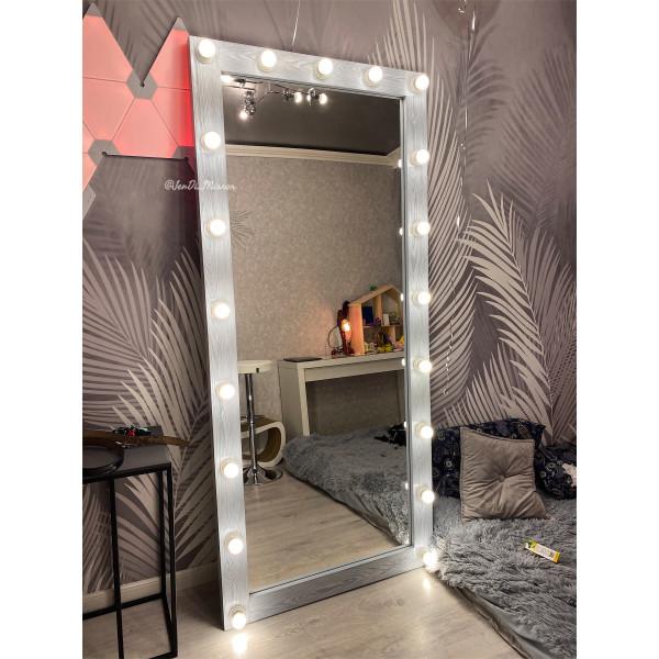 Гримерное зеркало с лампочками JenDi 200х90 Светлый Чикаго
