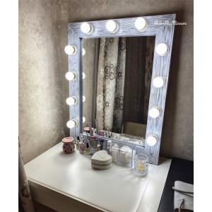 Гримерное зеркало с лампочками JenDi 75х60 Светлый Чикаго