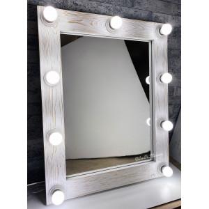 Гримерное зеркало с лампочками  JenDi 80х60 Белый Лофт