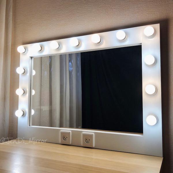 Гримерное зеркало с лампочками  JenDi 70х100 Белое