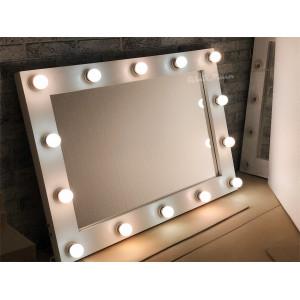 Гримерное зеркало с лампочками JenDi 100х70 Белое