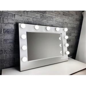 Гримерное зеркало с лампочками JenDi 70х50 см Белое