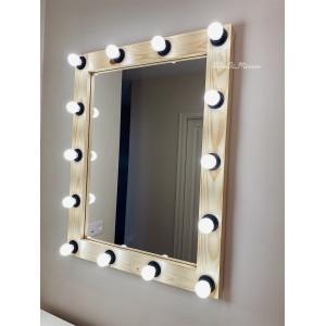 Гримерное зеркало с лампочками JenDi 90x70 Натуральное дерево