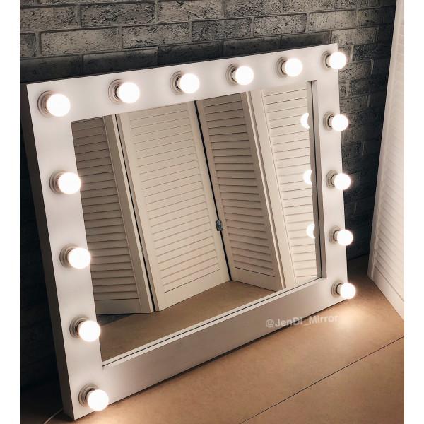 Гримерное зеркало с лампочками  JenDi 80х100 Белое
