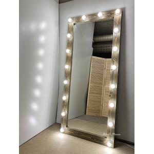 Гримерное зеркало с лампочками JenDi 180х80 см Мореный дуб