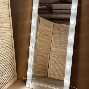 Гримерное зеркало с лампочками JenDi 180х80 белое состаренное