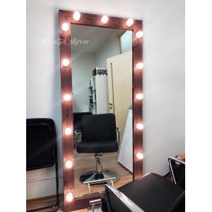 Гримерное зеркало с лампочками JenDi 180х80 см Мокко