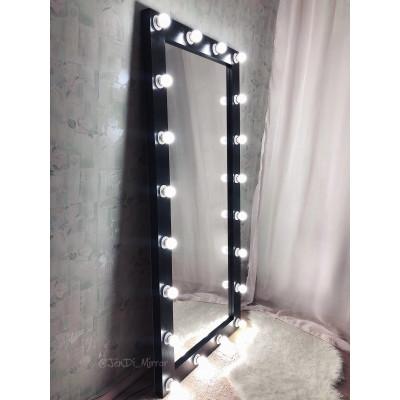 Гримерное зеркало с лампочками JenDi 180х80 см черное