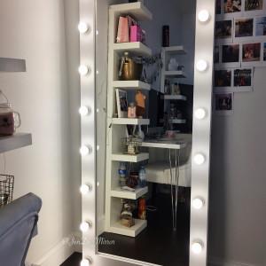 Гримерное зеркало с лампочками JenDi 180х80 White