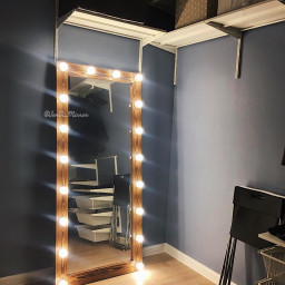 Гримерное зеркало с лампочками JenDi 180х80 Орех 18