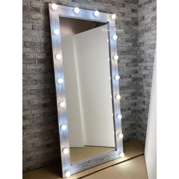 Гримерное зеркало с лампочками JenDi 180х80 Светлый Чикаго