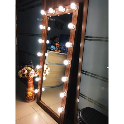 Гримерное зеркало с лампочками в полный рост JenDi 180х80 Орех