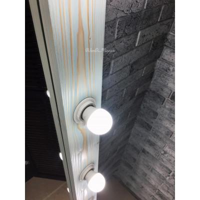 Гримерное зеркало с лампочками JenDi 180х80 см Светло-бирюзовое