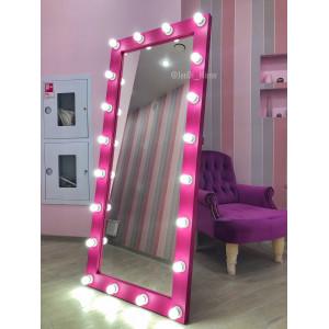 Гримерное зеркало с лампочками на подставке JenDi 180х80 Маджента