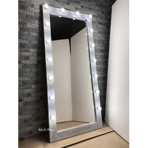 Гримерное зеркало с лампочками JenDi 180х80 Cветлый Чикаго (16 ламп)