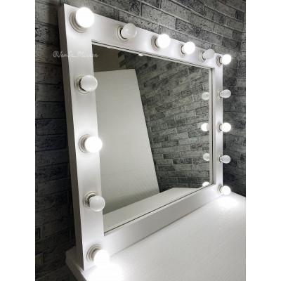 Гримерное зеркало с лампочками  JenDi 90х80 Белое