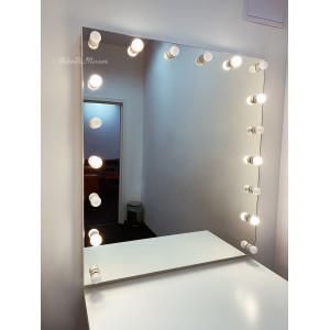 Гримерное зеркало с лампочками JenDi 115х100 Безрамное с режимами освещения
