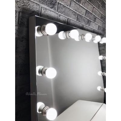 Гримерное зеркало с лампочками  JenDi 100х80 Безрамное