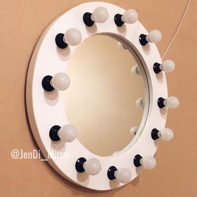 Круглое гримерное зеркало с лампочками JenDi 60см Белое