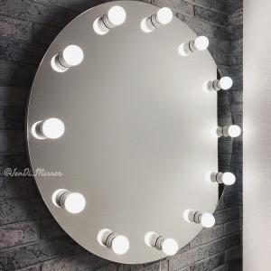 Круглое гримерное зеркало с лампочками  JenDi 80см Безрамное