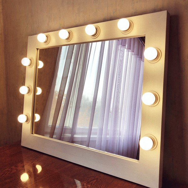 Гримерное зеркало с лампочками JenDi 65x85 White