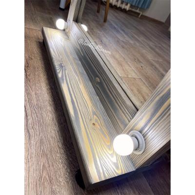 Гримерное зеркало с лампочками на подставке с колесами JenDi 180х80 Мореный дуб