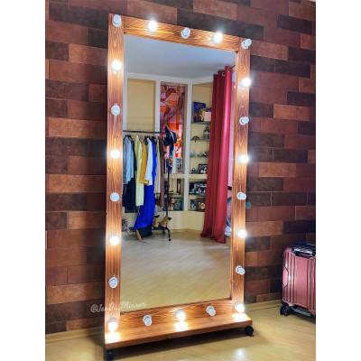 Гримерное зеркало с лампочками на подставке с колесами JenDi 200х100 Красное дерево