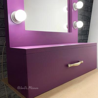 Гримерное зеркало с выдвижным ящиком JenDi 55x55 Сиреневое